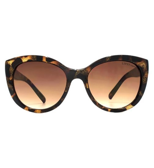 Lipsy Classic Cateye Tortoiseshell Sunglasses with Silver Glitter