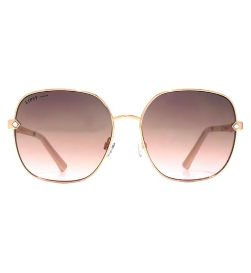 Lipsy Oversized Glam Rose Gold Metal Sunglasses