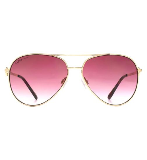 Lipsy Double Bar Light Gold Metal Sunglasses