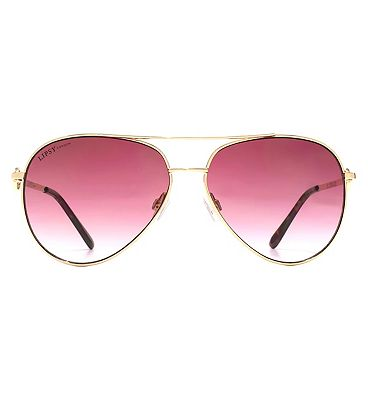 Lipsy Sunglasses Double Bar D Frame Metal Shiny Light Gold Q26LIP006-LGD