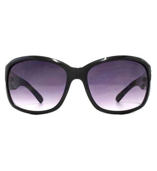 Lipsy Shiny Wrap Black Rectangle Sunglasses