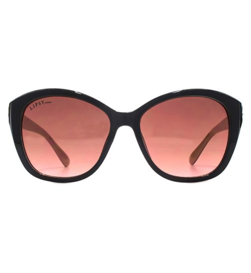 Lipsy Modern Cateye Black Sunglasses with Coral Interior