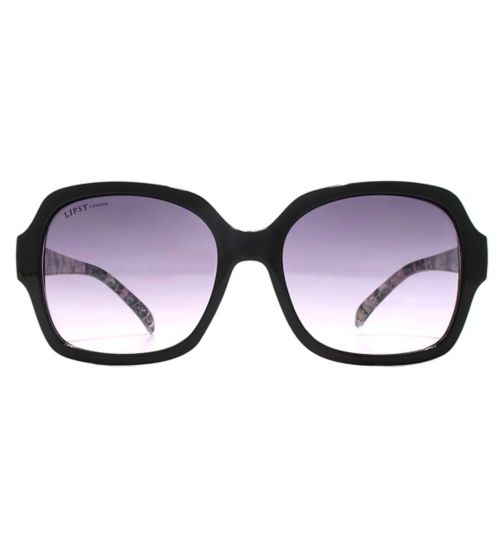 Lipsy Black Square Sunglasses with Marble Print Temple
