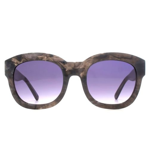 Whistles Chunky Grey Marble Acetate Sunglasses