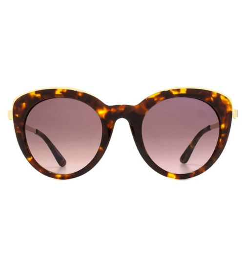 Whistles Classic Cateye Tortoiseshell Sunglasses with Metal In-Lay