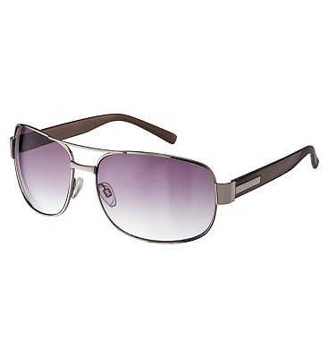 Boots Mens Shiny Gunmetal Sunglasses with Brow Bar and Metallic Silver Arms