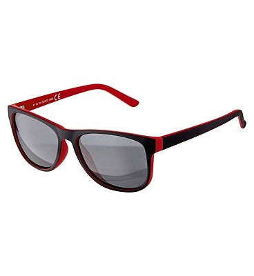 Boots Mens Polarised Sunglasses - Matt Black and Red Frame