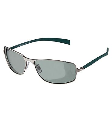Boots Mens Polarised Sunglasses - Matt Silver and Teal Frame