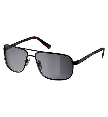 Boots Polarised Mens Black Metal Sunglasses with Brow Bar