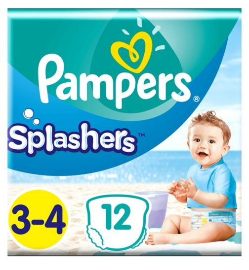 Pampers Splashers Size 3-4, 12 Disposable Swim Pants, 6-10kg