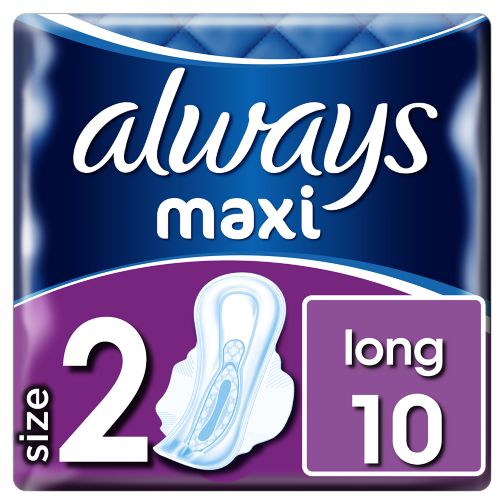 Always Maxi Long (Size 2) Sanitary Towels Wings 10 Pads