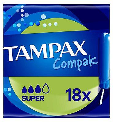Tampax Compak Super Tampons Applicator 18X