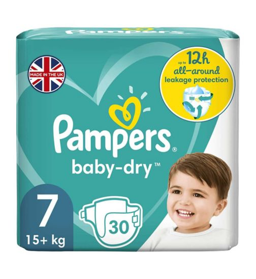 Pampers size 7 Baby-Dry nappies 15+kg 28s