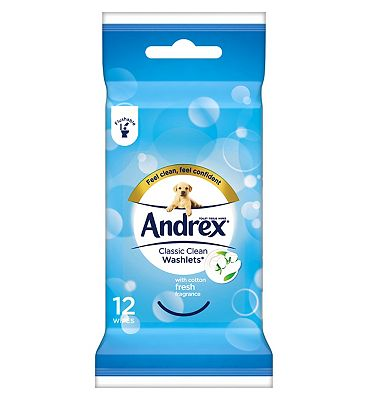 Andrex Classic Clean Washlets to Go - 12 Flushable Wipes