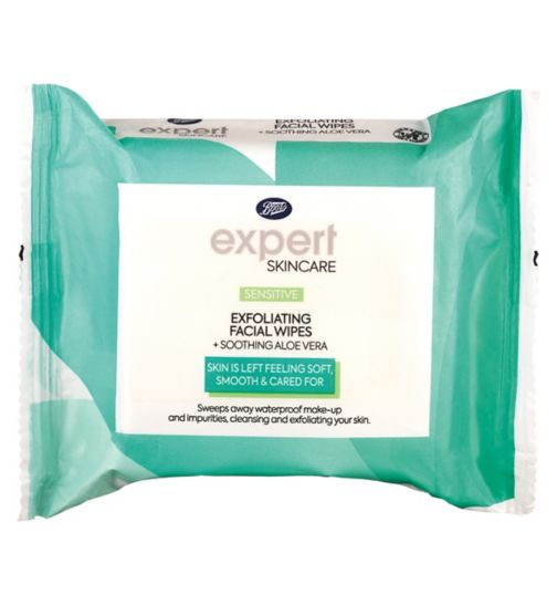 Boots Expert sensitive exfoliating facial wipes + soothing aloe vera 25s