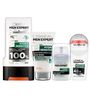 loreal men expert hydra sensitive skin soothing white range