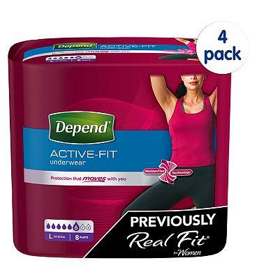 Depend Active Fit for Women Large - 32 Pants (4 pack bundle)
