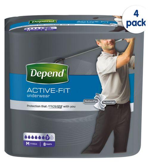 Depend Active Fit for Men Medium - 32 Pants (4 pack bundle)