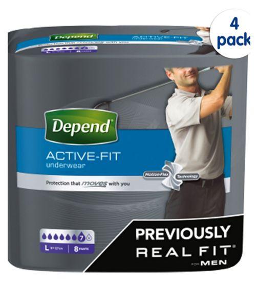 Depend Active Fit for Men Large - 32 Pants (4 pack bundle)