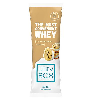 Whey Box The Most Convenient Whey Cookies & Cream Flavour Protein - 20g Sachet