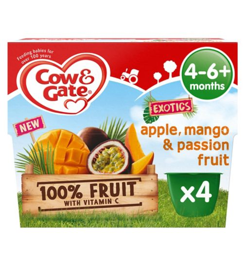 Cow & Gate Exotics Apple, Mango & Passion Fruit from 4-6+ Months 4 x 100g (400g)