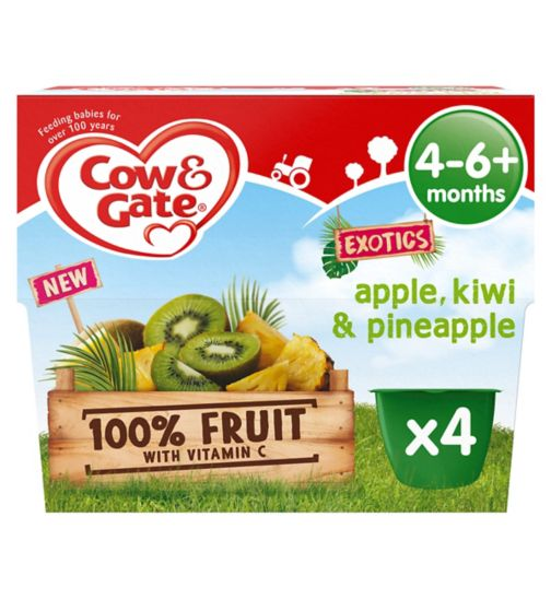 Cow & Gate Exotics Apple, Kiwi & Pineapple from 4-6+ Months 4 x 100g (400g)