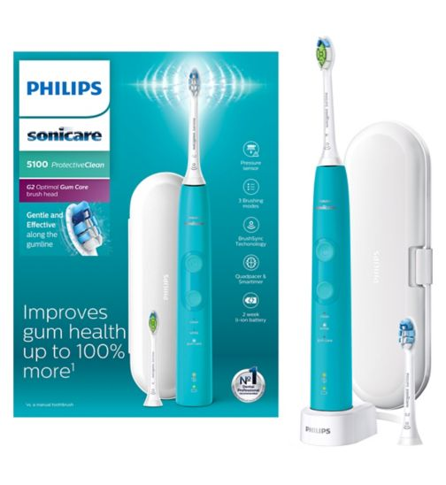 Philips Sonicare ProtectiveClean 5100 Turquoise Electric Toothbrush & Additional Toothbrush Head