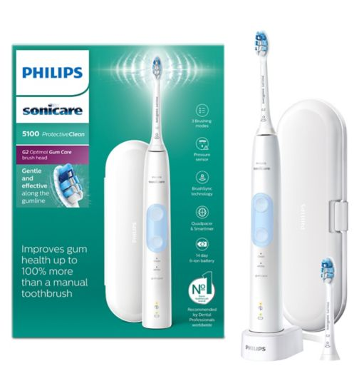 Philips Sonicare ProtectiveClean 5100 White Electric Toothbrush & Additional Toothbrush Head