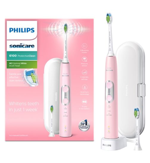 Philips Sonicare ProtectiveClean 6100 Pastel Pink Electric Toothbrush with Additional Toothbrush Head