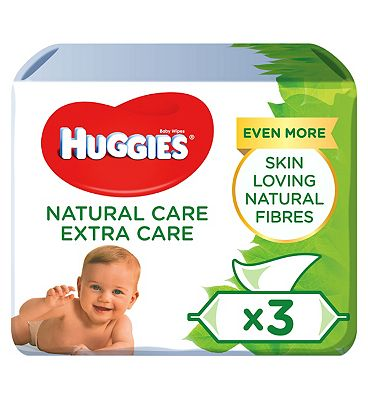 Natural Extra Care Baby Wipes, 3 x 50 pack = 168 Wipes