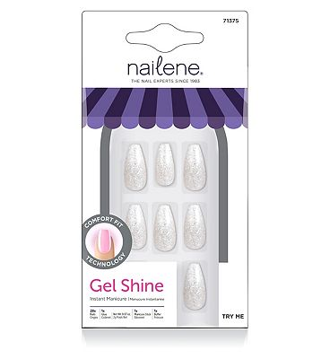 Nailene So Chic Gel Shine nails White Glitter