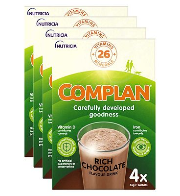 Complan Chocolate Flavour Nutritional Drink - 4 packs (16 x 55g sachets)
