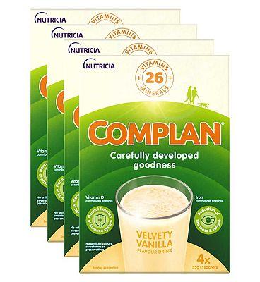 Complan Vanilla Flavour Nutritonal Drink - 4 packs (16 x 55g sachets)