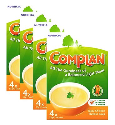 Complan Tasty Chicken Flavour Soup - 4 packs (16 x 55g sachets)