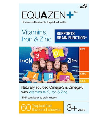 Equazen+ Vitamins, Iron & Zinc Tropical Fruit Flavoured Chewies 60s