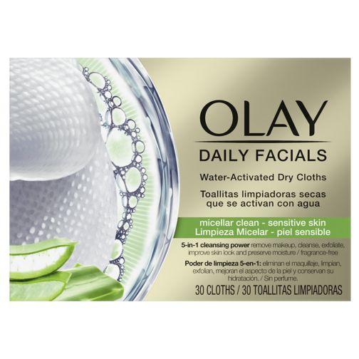 Olay Daily Facials Water-Activated Dry Cloths, Micellar Clean, Sensitive Skin, 30 Cloths