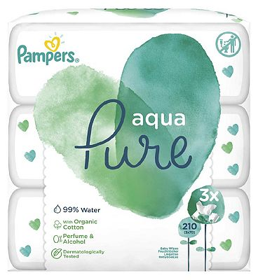 Baby Wipes Aqua Pure 3 Packs = 210 Wipes