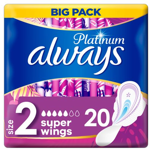 Always Platinum Long (Size 2) Sanitary Towels Wings 20 Pads