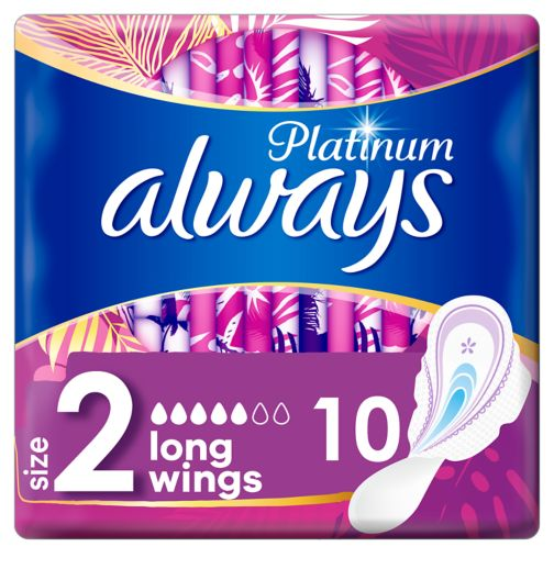 Always Platinum Long (Size 2) Sanitary Towels Wings 10 Pads