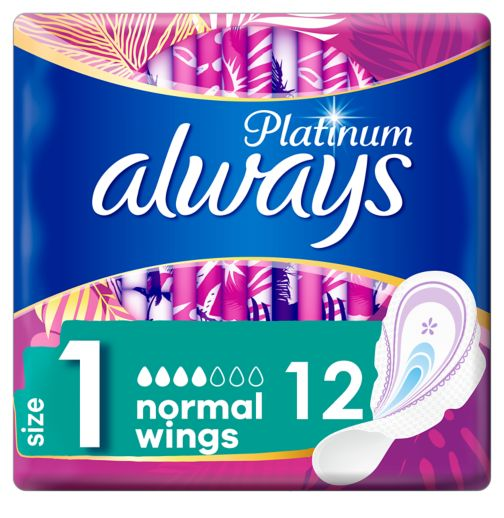 Always Platinum Normal (Size 1) Sanitary Towels Wings 12 Pads