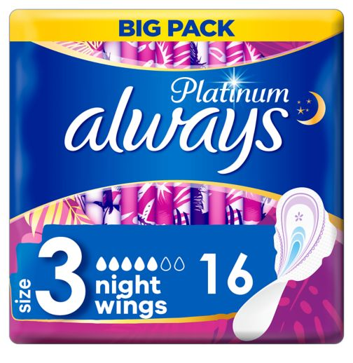 Always Platinum Night (Size3) Sanitary Towels Wings 16 Pads