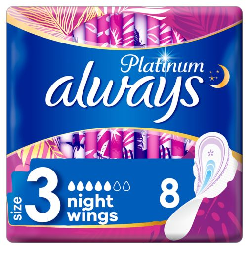 Always Platinum Night (Size 3) Sanitary Towels Wings 8 Pads