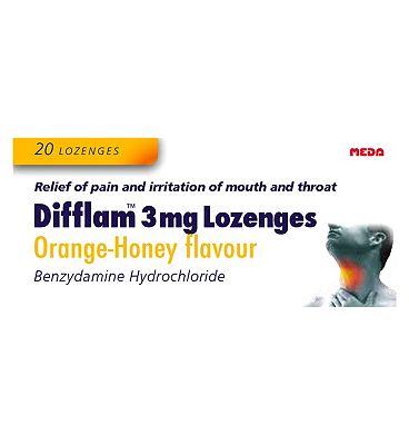 Difflam 3mg Lozenges Orange-Honey flavour - 20 Lozenges