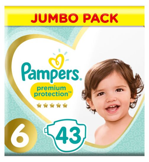 Pampers Premium Protection Size 6, 43 Nappies, 13kg+