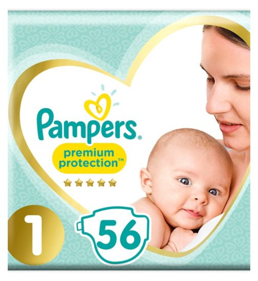 Pampers Premium Protection Size 1, 56 Nappies, 2-5kg