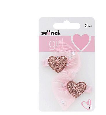 Scunci Girl Heart Concord Clips 2pk
