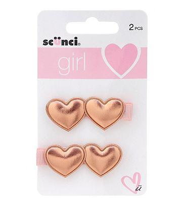 Scunci Girl Gold Heart Concord Clips 2pk