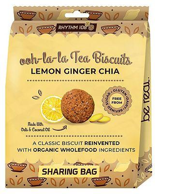 Rhythm 108 Ooh-la-la Tea Biscuits Lemon Ginger Chia 135g (Sharing Bag)