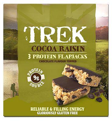 Trek Cocoa Raisin Protein Flapjacks - 3 x 50g