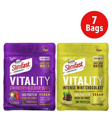 SlimFast Vegan Advanced Vitality Shake - Strawberry & Blueberry Burst - 450g x 4, Intense Mint Chocolate - 486g x3
